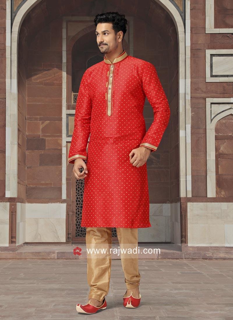 Crimson Color Kurta Set For Wedding