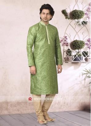 Liril Green Art Silk Fabric Kurta Pajama