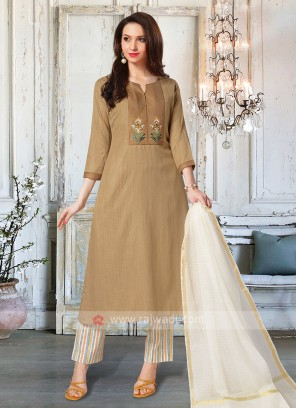 Khaki & Cream Color Salwar Suit