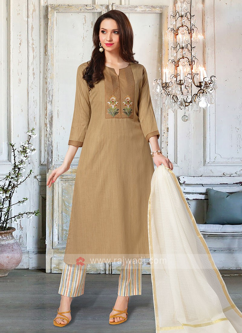 Khaki & Cream Color Salwar Suit