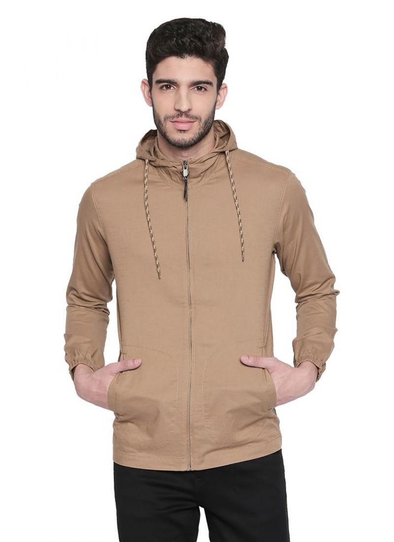 Khaki Solid Hooded Zippered Full Sleeved Shirt