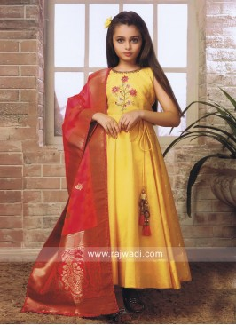Kids Anarkali Salwar Kameez in Yellow