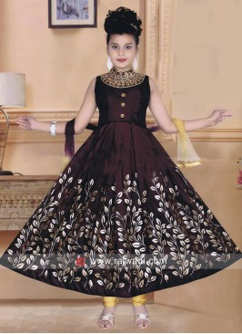 Kids Anarkali Suit with Embroidery Neck