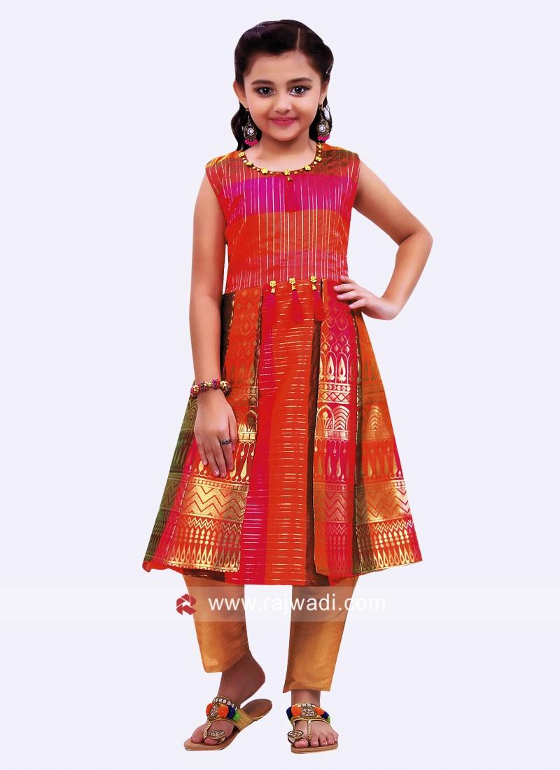 Kids Cotton Silk Multi Print Salwar Suit