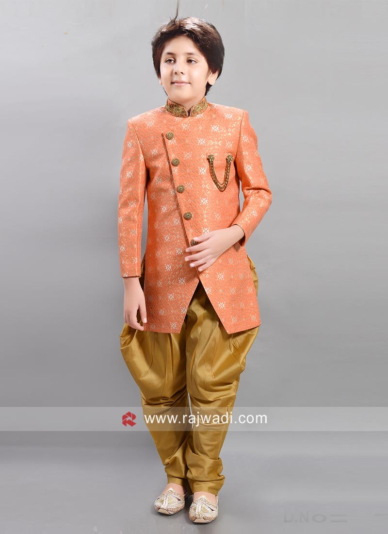Kids Indo Western in Light Orange