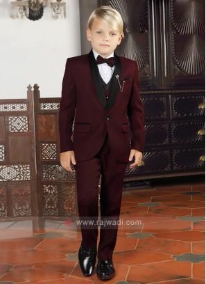 Kids Maroon Party Wear Suit