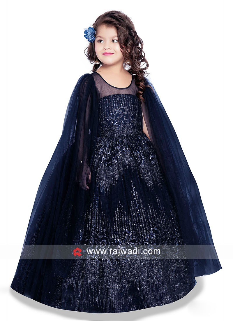 Kids Navy Blue Gown with Long Slit sleeves