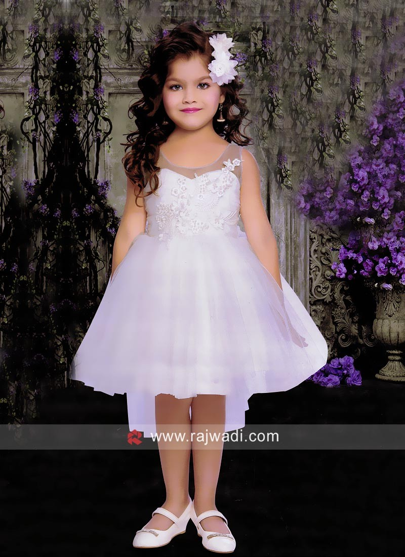 Kids Party Wear Short Dress in White