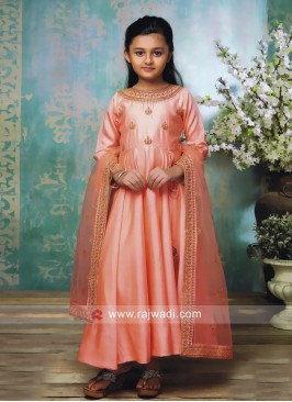 Kids Peach Embroidered Anarkali Suit