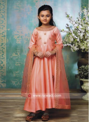 Kids Peach Embroidered Anarkali Suit