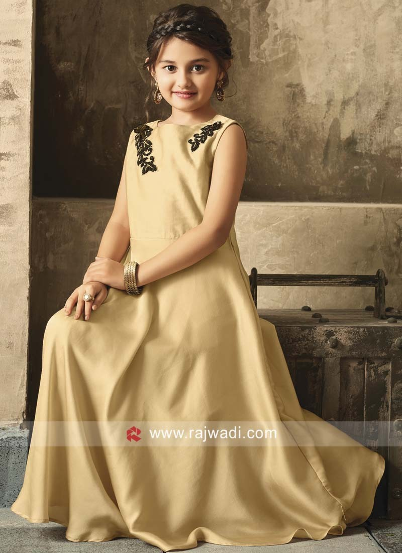 Kids Satin Designer Gown in Cream