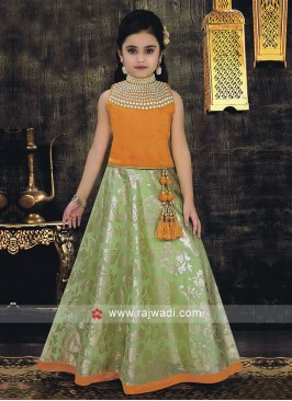 Kids Satin Silk Choli Suit with Dupatta