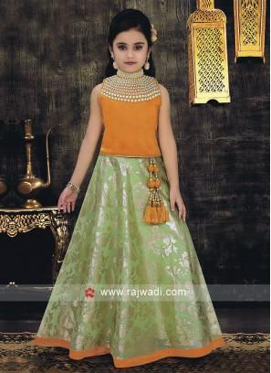 Kids Satin Silk Choli Suit with Dupatta
