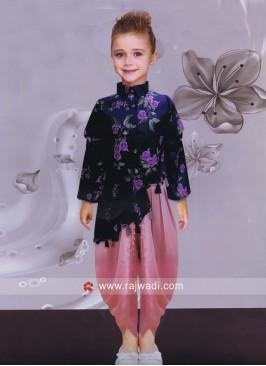 Kids Satin Silk Dhoti Salwar Kameez