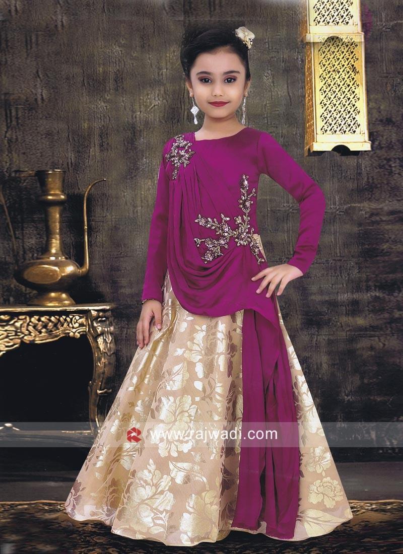 Kids Satin Silk Wedding Gown