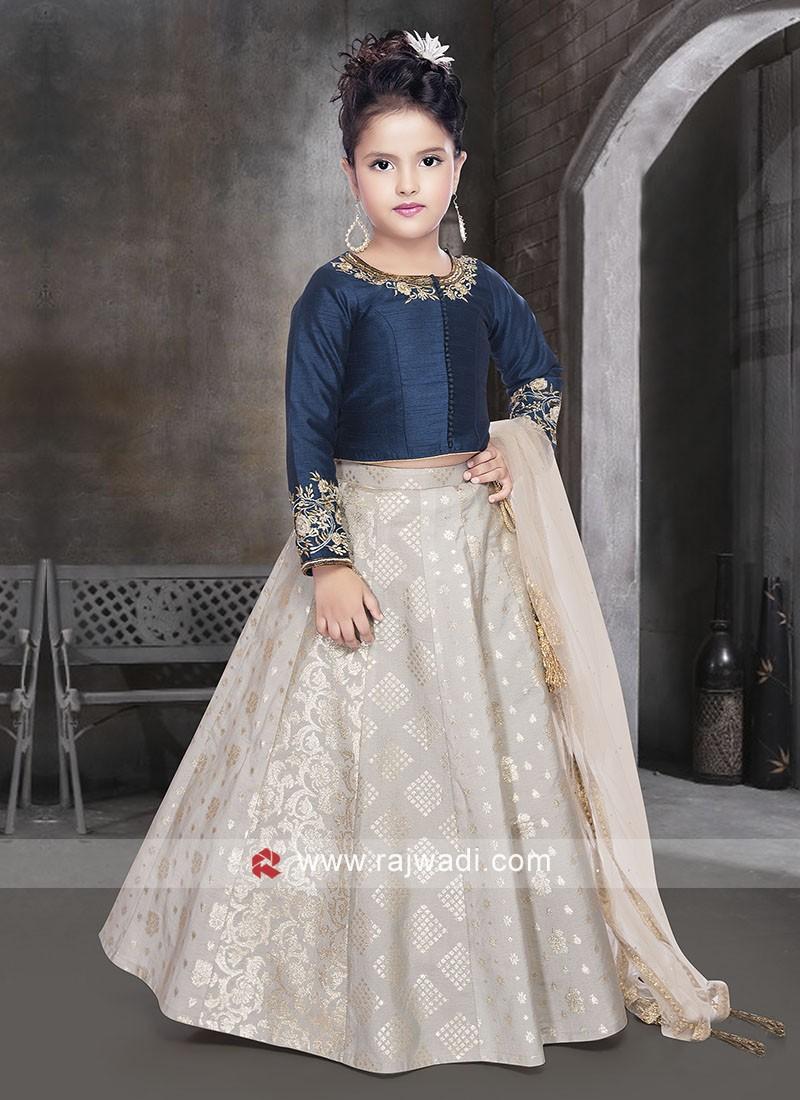 Kids Silk Choli Suit with Dupatta