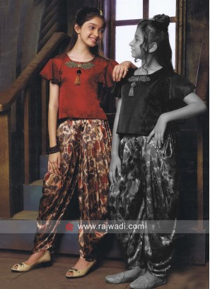 Kids Maroon Crop Top with Printed Dhoti Bottom