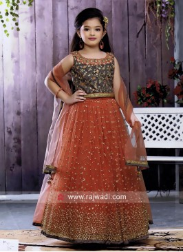 Kids Wedding Embroidered Choli Suit