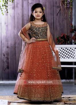 Kids Wedding Embroidered Choli Suit