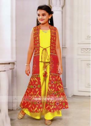 Kids Yellow Palazzo Suit with Long Koti
