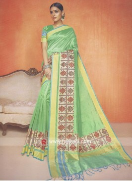Kota Cotton Silk Saree in Sea Green