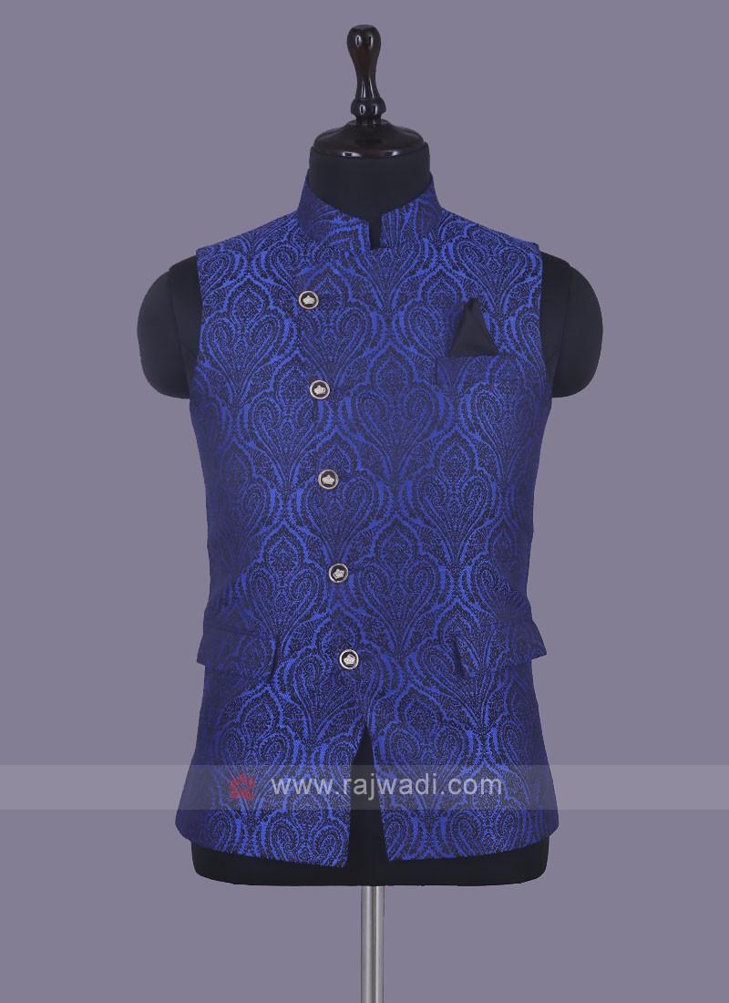 Unique Design Nehru Jacket In Royal Blue