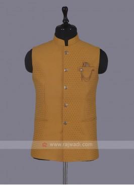 Art Silk Nehru Jacket In Mustard Yellow