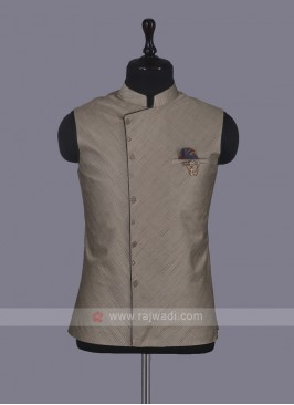 Wedding Wear Nehru Jacket In Beige