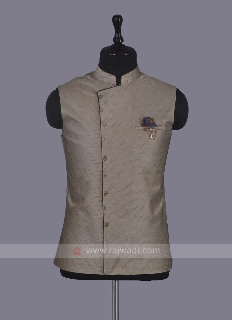Wedding Wear Nehru Jacket In Beige