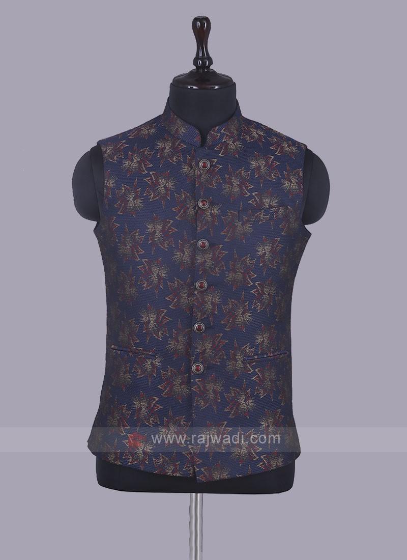 Art Silk Printed Dark Blue Nehru Jacket