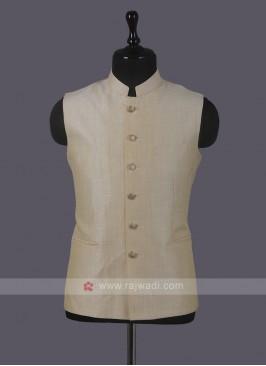 Art Silk Cream Nehru Jacket