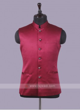Art Silk Red Nehru Jacket