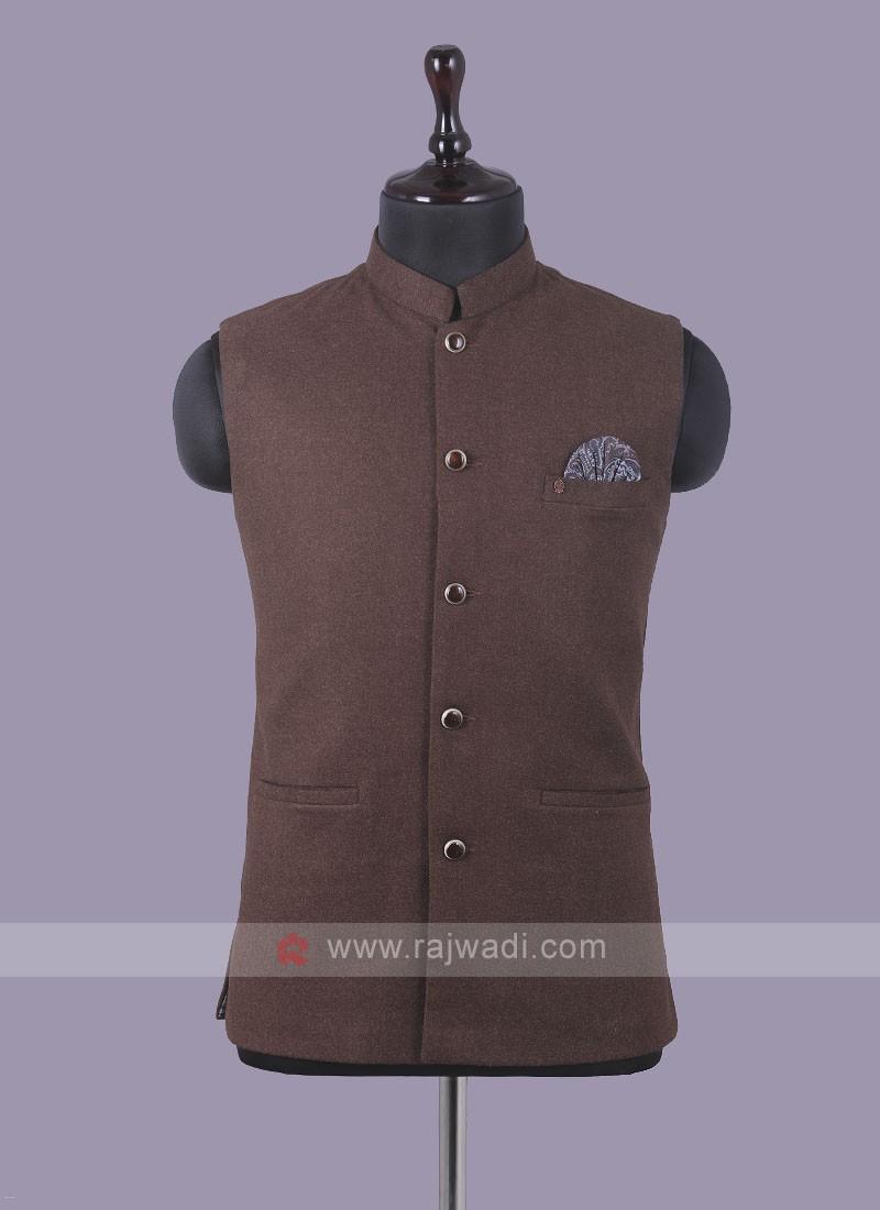 Mix Blend Brown Nehru Jacket