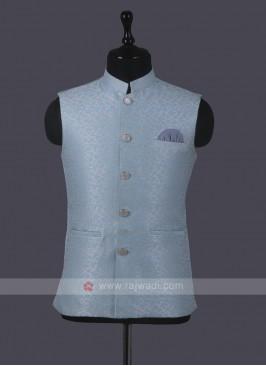 Art Silk Sky blue Nehru Jacket