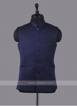Art Silk Dark Blue Nehru Jacket