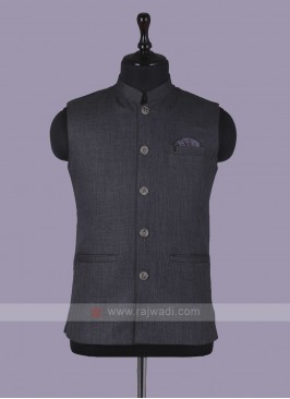 Mix Blend Dark Grey Nehru Jacket
