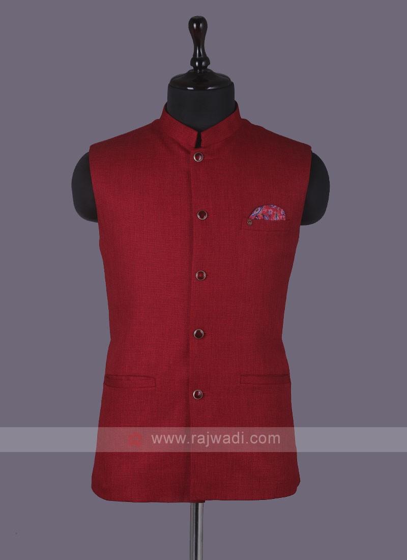 Art Silk Red Nehru Jacket