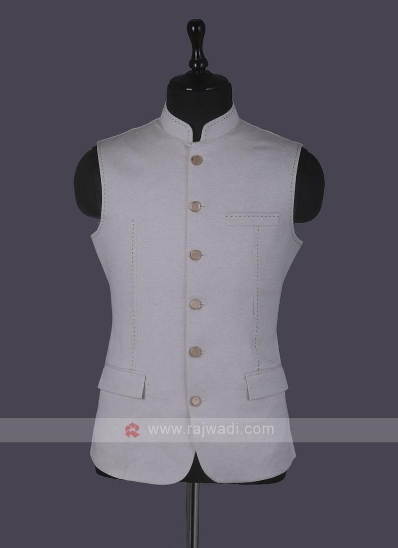 Amazing Art Silk Nehru Jacket In Beige