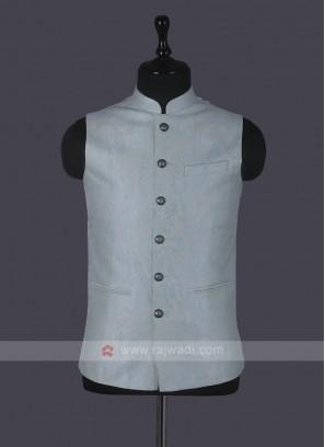 Printed Sky Blue Nehru Jacket