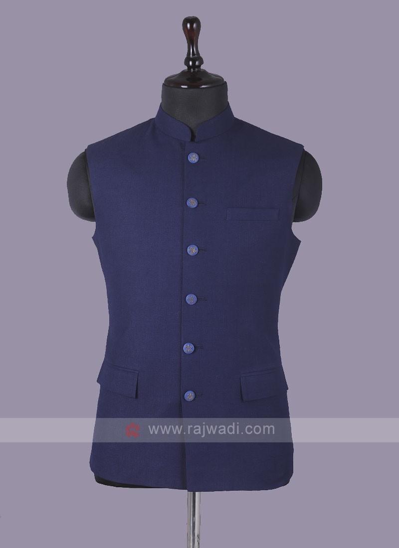 Art Silk Nehru Jacket In Dark Blue