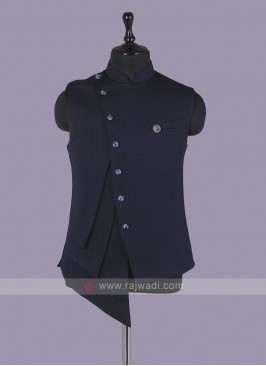 Stylish Navy Blue Nehru Jacket