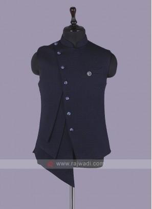 Stylish Navy Blue Nehru Jacket