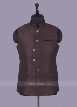 Fancy Art maroon  Silk Nehru Jacket