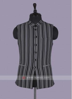 Striped Black Nehru Jacket