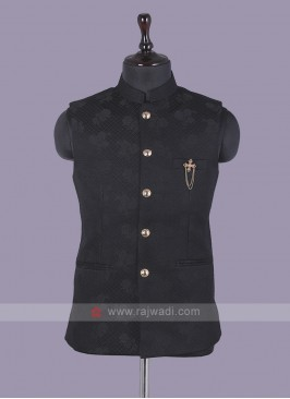 Black Printed Nehru Jacket