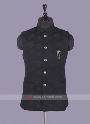 Black Printed Nehru Jacket