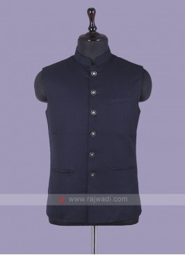 Mix Blend Navy Blue Nehru Jacket