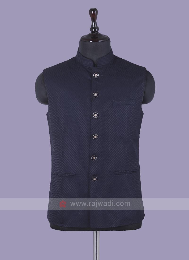 Mix Blend Navy Blue Nehru Jacket