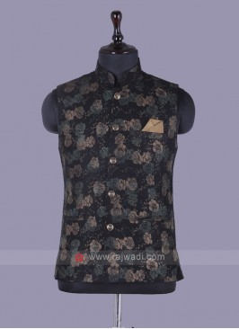Floer Printed Black Nehru Jacket