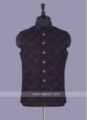 Red And Black Checks Nehru Jacket